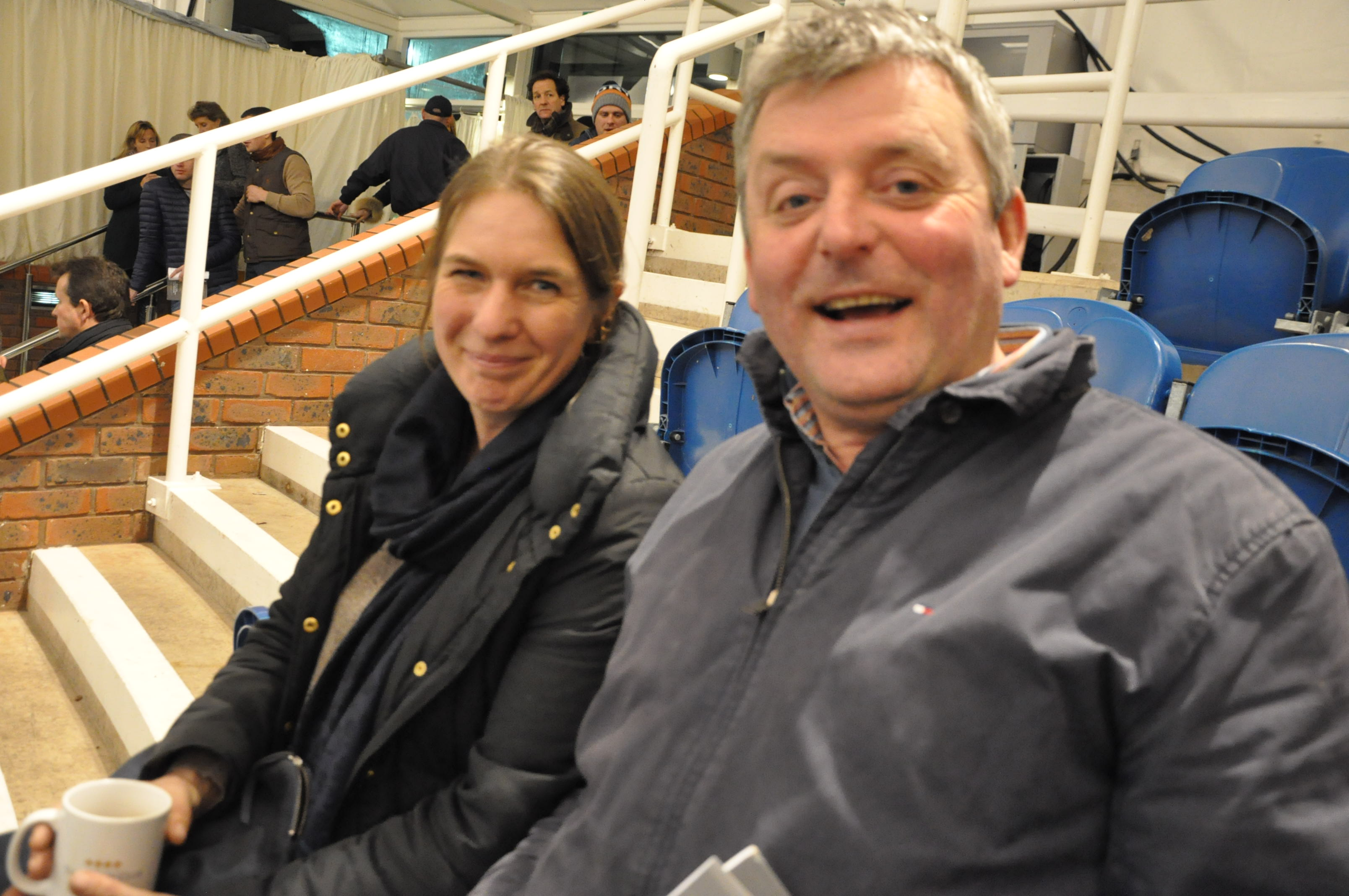 Michael Goff at the ring with friend Suzy Smith after  selling the sales top lot Ce